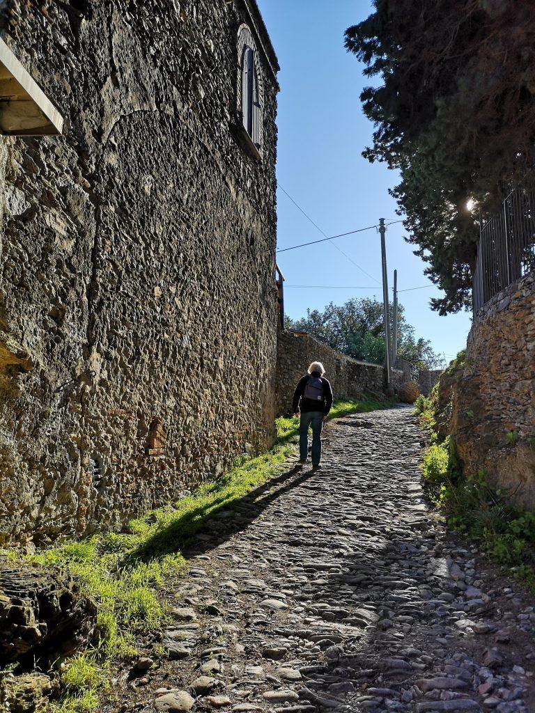 Via Julia- Römische Straße in der Nähe von Albenga Italien