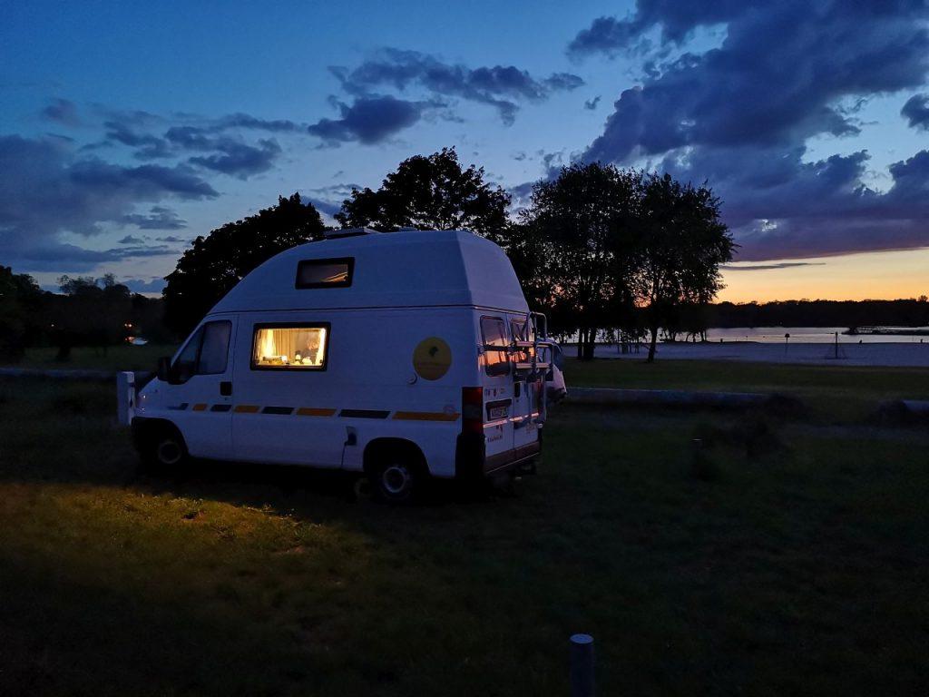 Campingplatz in Seltz bei Sonnenuntergang