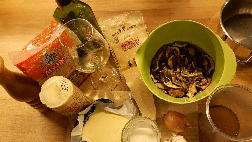 Zutaten für Steinpilz Risotto